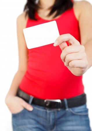 Blank card held by a young woman in red.