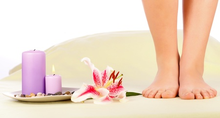 Beautiful woman legs preparing for feet therapy. Stock Photo - 20794778