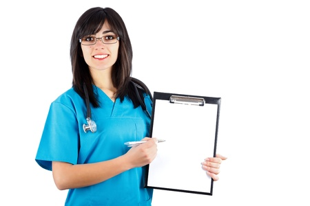 Kind brunette woman doctor/nurse in blue coat showing on her chart. Stock Photo - 20795367