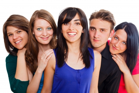 Multinational young happy group of people - groupphoto series. Stock Photo