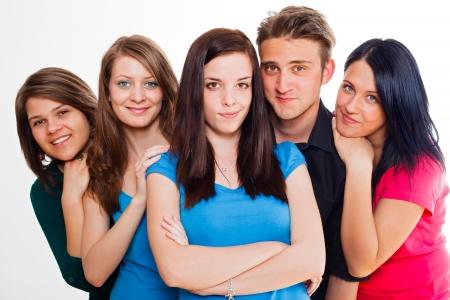 multinacional: Multinacional grupo de gente joven feliz - serie groupphoto.