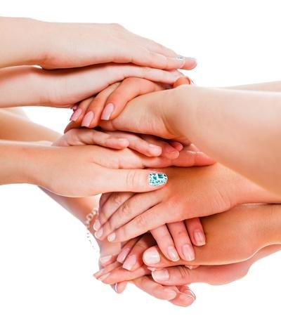 krachtige vrouw: Vele handen samen de presentatie van het concept van een geweldig team.