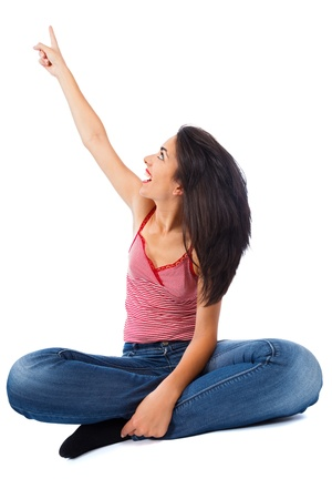 upwards: Isolated on white woman poiting upwards cheering. Stock Photo