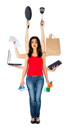 multitasking: Tired woman holding many different things in her multi hands - multitasking isolated on white.