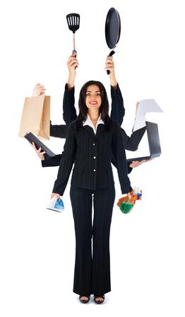 multitasking: Business woman handling multi-tasks - isolated on white.