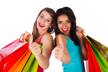 Very happy girl showing like for shopping - isolated on white. Stock Photo - 21829895