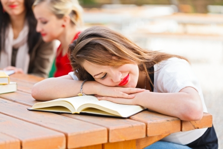 Student falling asleep during studying for final examination. photo