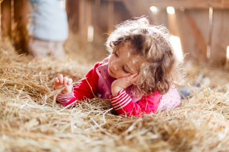 hay: Beautiful little girl playing peacefully with hay wondering.