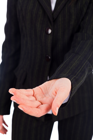 gaining: Business woman hands helping, gaining trust. Stock Photo