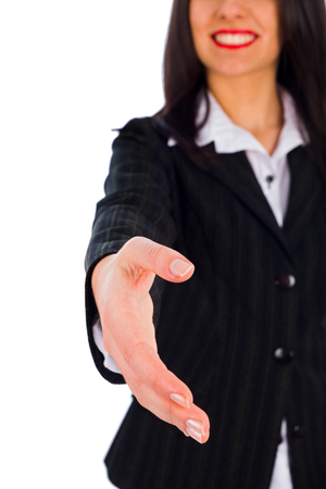 anticipating: Confident business woman anticipating handshaking - cooperation. Stock Photo