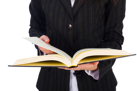 gained: True knowledge can be gained by written words from and open book.  Stock Photo