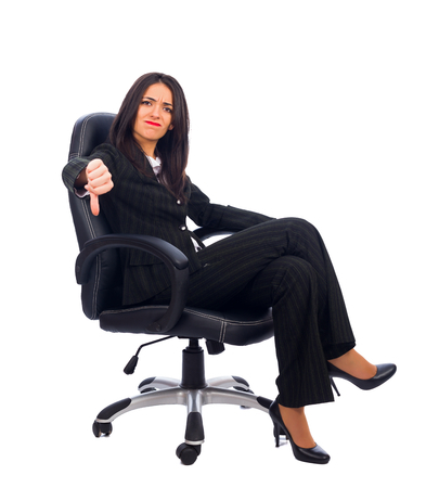 frustrating: Dissatisfied woman boss saying no to the new idea. Stock Photo