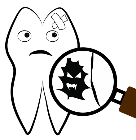 Tooth in bad condition, bacteria viewed with magnified glass. Stock Photo - 26421171