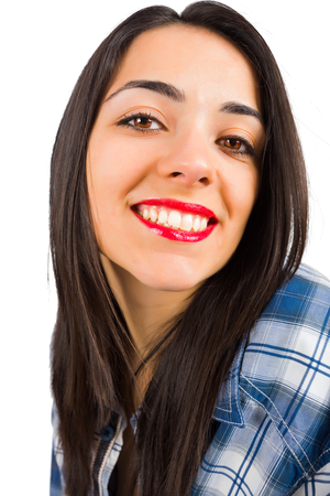 kindly: Beautiful portrait of a brunette lady smiling kindly