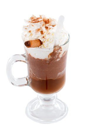 choco: Delicious hot chocolate with cream and choco stick.
