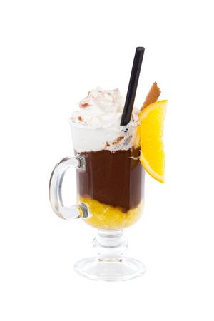 choco: Hot chocolate with cream, choco stick and orange.