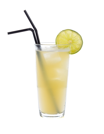non alcoholic: Special non alcoholic cocktail with banana mash and honey decorated with a slice of lime.