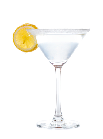 fruit of the spirit: Delicious sweet cocktail with tequila and orange liqueur decorated with lemon. Stock Photo