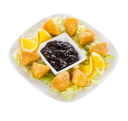 fryed: French fries with cheese in bread crumbs and blueberry preserves.