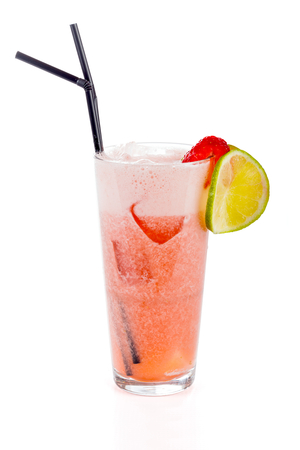 non alcoholic: Non alcoholic strawberry cocktail isolated on white.