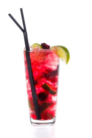 alcoholic beverage: Cold alcoholic beverage special cocktail named Rainbow Mojito.