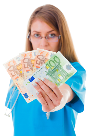 infirm: Confident doctor showing 250 euros in blue coat.