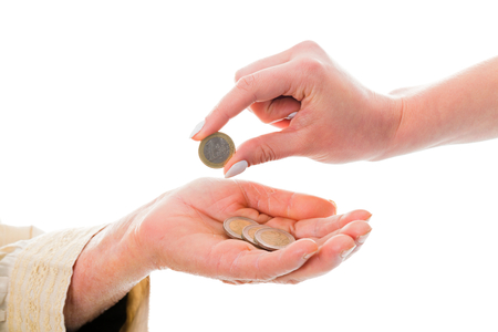 financially: Old woman receiving money from young, who sopports her financially.