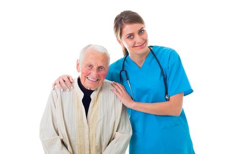 assisting: Beautiful young caretaker helping a sick elderly woman.