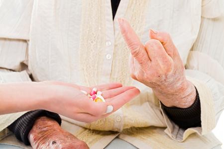 refusal: Rude refusal of drugs by senior patient.