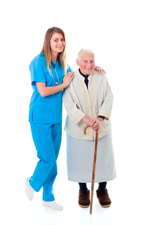 infirm: Reliable nursing home services: elderly patient and young caregiver.