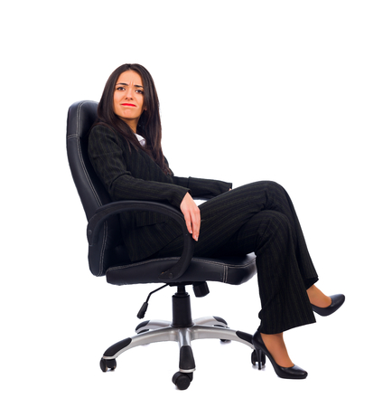 dissatisfied: Dissatisfied woman boss saying no to the new idea. Stock Photo