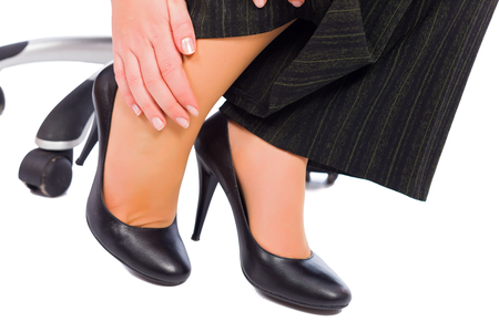 hurting: Hurting feet while wearing high heels all day.