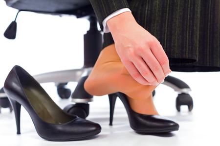 fu�sohle: Plantar Fasciitis - verletzen Zehen nach dem Tragen jeden Tag High Heels.