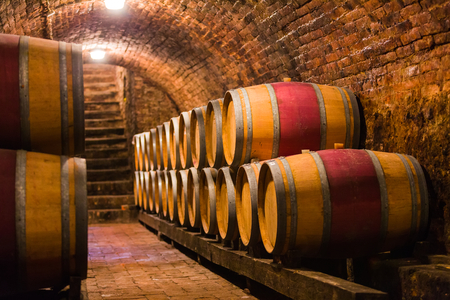 Eichenfässern in einer traditionellen ungarischen Weinkeller für die Herstellung von Wein. Standard-Bild