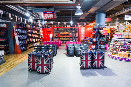 specificity: Britain specific souvenir shop in London with a lot of products with United Kingdom specificity.
