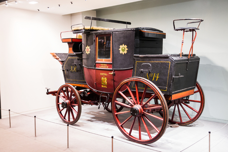royal mail: Antique royal mail coach in the Science museum of London.