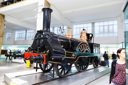 Grand Junction Railway locomotive 49 Columbine is a beautiful 2-2-2 steam engine, built at Crewe Works, photo taken in the Science Museum of London.