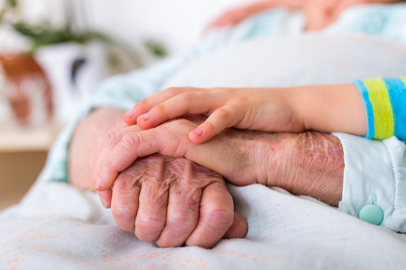 womans hands: CHild hands holding senior womans hands in nursing home.