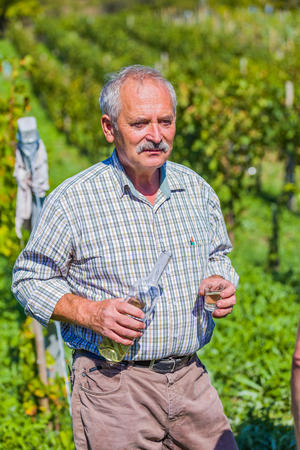 long day: Elderly  viticultor serving traditional hongarian palinka after a long day of harvesting. Stock Photo