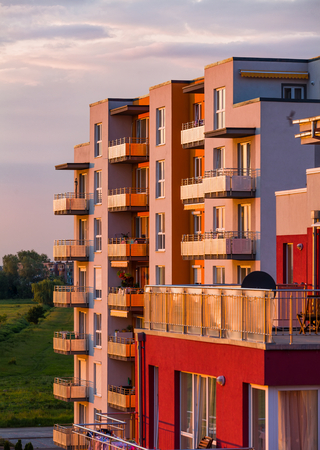 apartment building: Newly built apartmants in the lights of the setting sun.