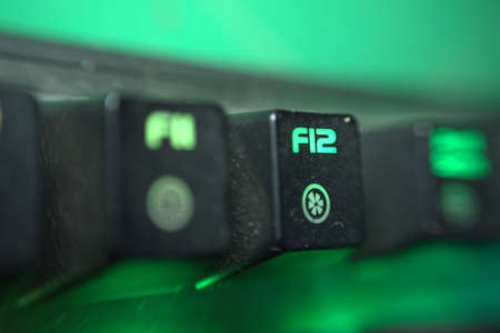 """blurry background pic five, black keyboard colorful lights pattern with focus knob f12"""""""