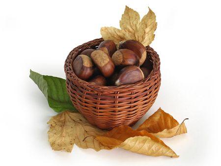 castanea sativa: Basket full of chestnuts (Castanea sativa) and some autumn leaves