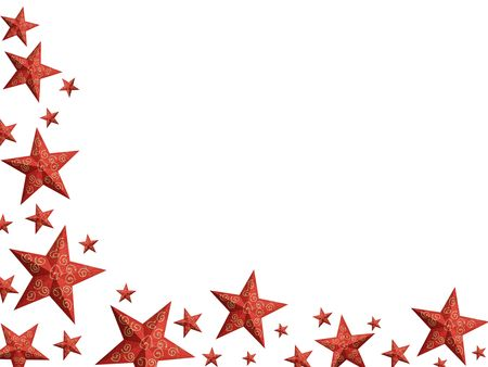 granular: Hand painted red Christmas stars with granular surface forming a frame (isolated)