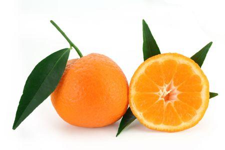 citrus reticulata: Mandarine oranges with fresh green leaves