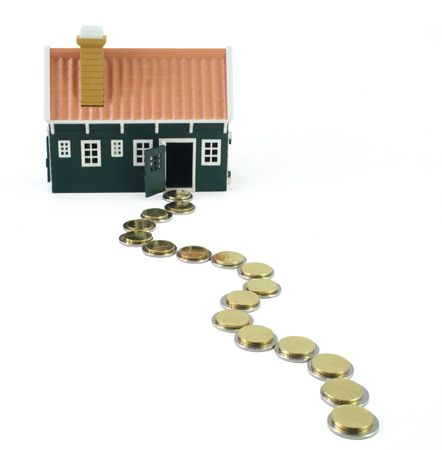 path to wealth: House at the end of a long and devious money path - isolated (clipping path) Stock Photo