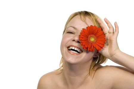 Young  radiant happy woman having fun - isolated Stock Photo - 801182