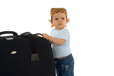 Cute  girl with huge luggage - asking for help (isolated, with copy space) Stock Photo - 789786