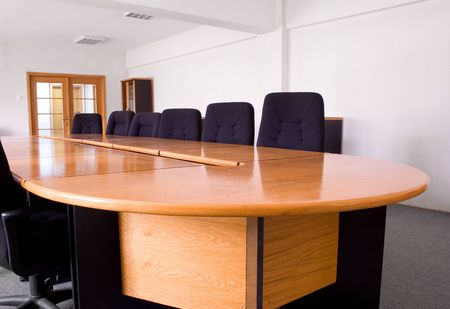 Corporate meeting room for smaller meetings, in natural light Stock Photo