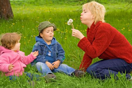 Young mother with little boy and girl blowing dandelions sitting in the grass Stock Photo - 915399