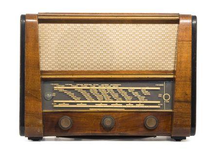 tune: Old wooden box radio - superheterodyne - isolated on white Stock Photo